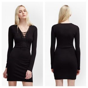 French Connection Lula Lace Up Bust Dress 4 Black